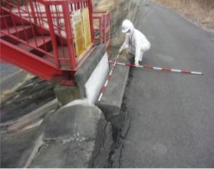 土砂吐ゲート管理橋受台部の破損状況