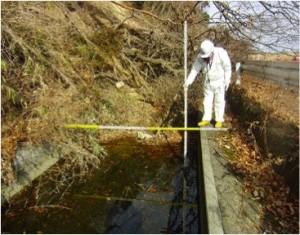 法面崩落による水路の閉塞